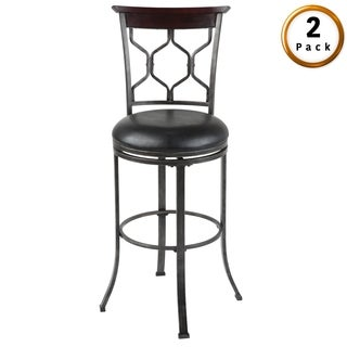 Tallahassee Metal Bar or Counter Stool with Padded Swivel-Seat, 2-Pack