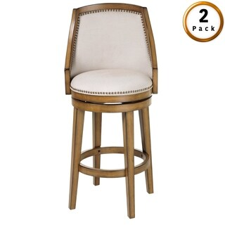 Charleston Bar or Counter Stool with Upholstered Swivel-Seat, 2-Pack