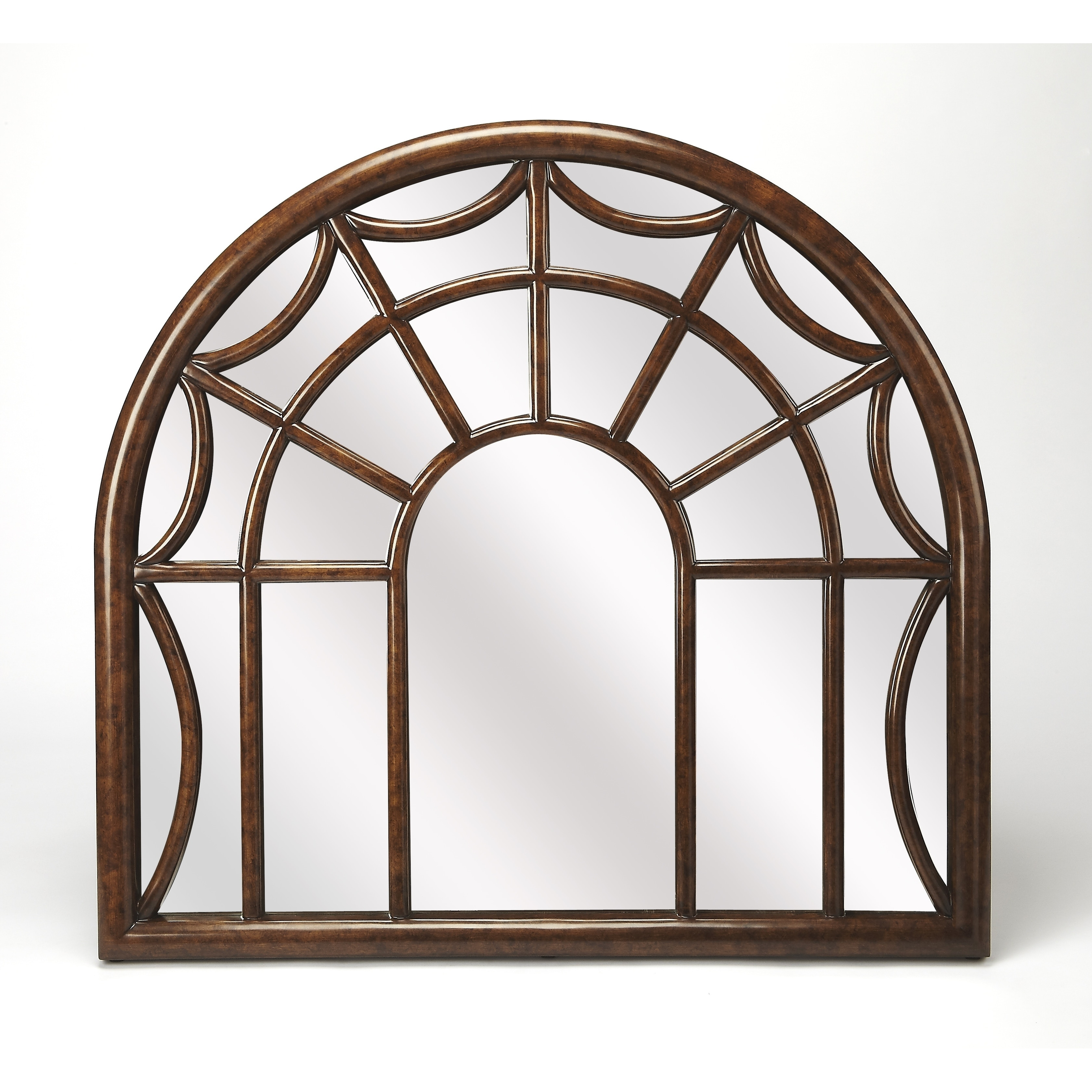 Butler Georgia Arched Window Pane Wall Mirror, Brown