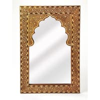 Butler Chevrier Brown Wood and Bone Inlay Wall Mirror