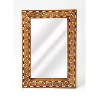 Butler Chevrier Wood & Bone Inlay Wall Mirror