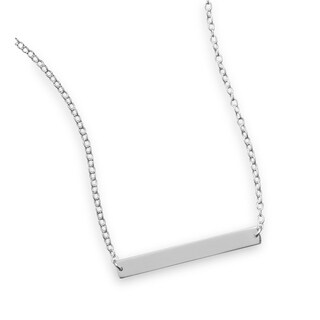 "Italian Sterling Silver 16"" + 2"" Polished Thin Engravable Bar Nameplate Necklace - White"