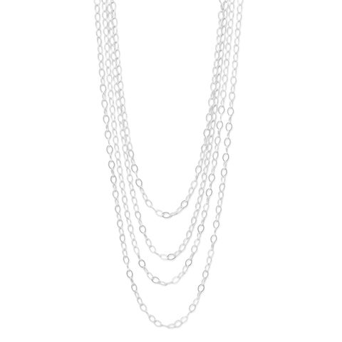 """Sterling Silver 100"""" Open Link Cable Necklace with Lobster-claw closure - White"""