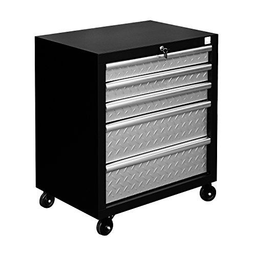Homcom Metal 5 Drawer Rolling Tool Chest Cabinet Silver Black