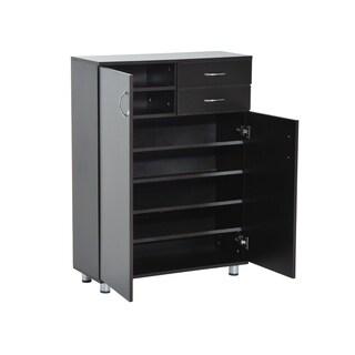 HomCom Shoe Cabinet - Wood Shelf Storage Organizer w/ Drawers - Dark Brown