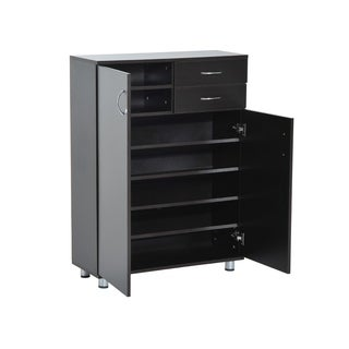HomCom Shoe Cabinet   Wood Shelf Storage Organizer W/ Drawers   Dark Brown