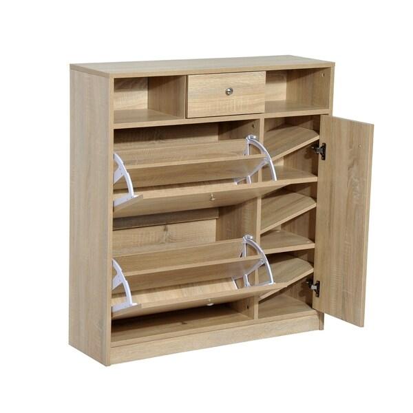HomCom Shoe Cabinet   Pull Out Door U0026amp; Drawer Organizer Closet   White  Oak