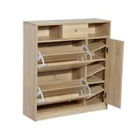HomCom Shoe Cabinet - Pull Out Door & Drawer Organizer Closet - White Oak