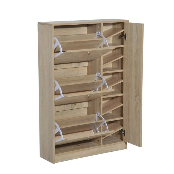 HomCom Shoe Cabinet   Pull Out Door Organizer Closet   White Oak