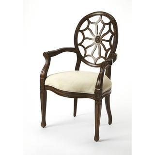 Butler Allison Plantation Cherry/Ivory Birchwood/Faux Linen Accent Chair