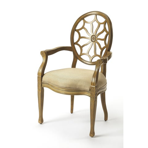 Butler Allison Wood and Fabric Cappucino Finish Spider-back Accent Chair