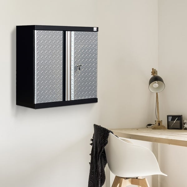 HomCom Metal Wall Mounted Hanging Tool Cabinet   Silver/Black