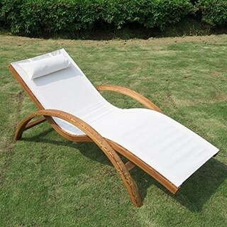 Outsunny Outdoor Reclining Mesh Lounger Chair w/ Cushion - Cream