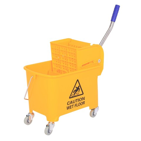 HomCom 5 Gallon Commercial Restaurant Janitorial Cleaning Rolling Industrial Mop Bucket With Down Press Wringer - Yellow