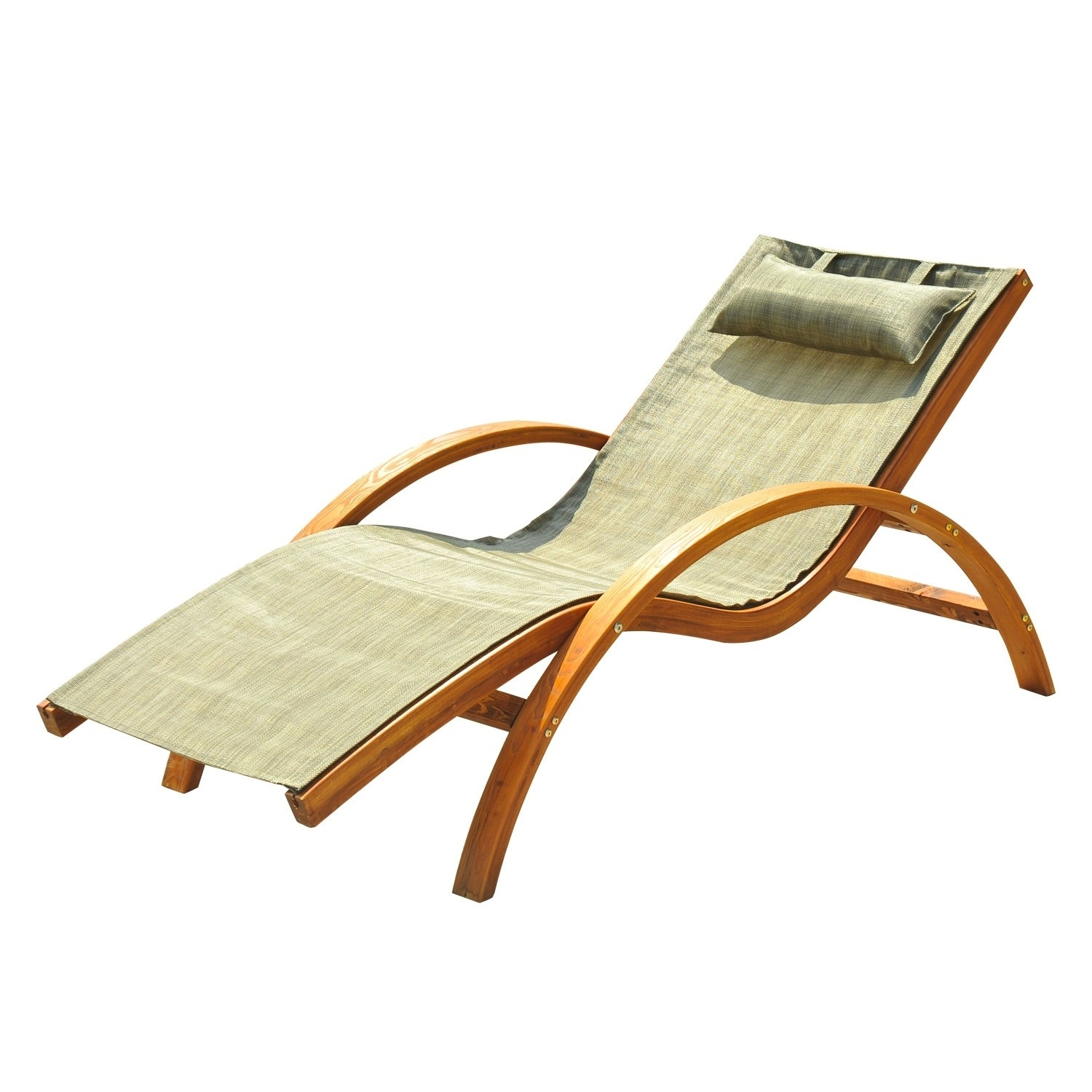 Aosom Outsunny Outdoor Reclining Mesh Lounger Chair w/ Cu...