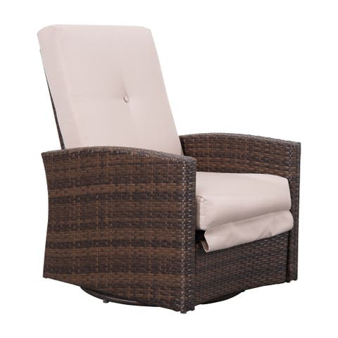 Outsunny Outdoor Rattan Wicker Swivel Recliner Lounge Chair with Water/UV Fighting Material and Comfort
