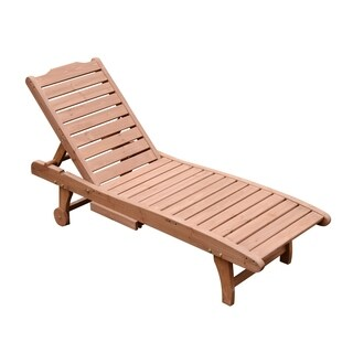 Outsunny Wooden Outdoor Chaise Lounge Patio Pool Chair w/ Pull-Out Tray