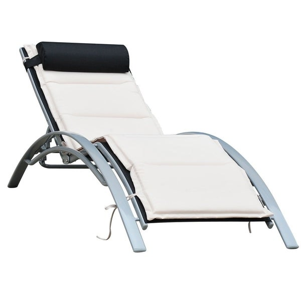Outsunny Patio Reclining Chaise Lounge Chair With Cushion   Black And Cream  White