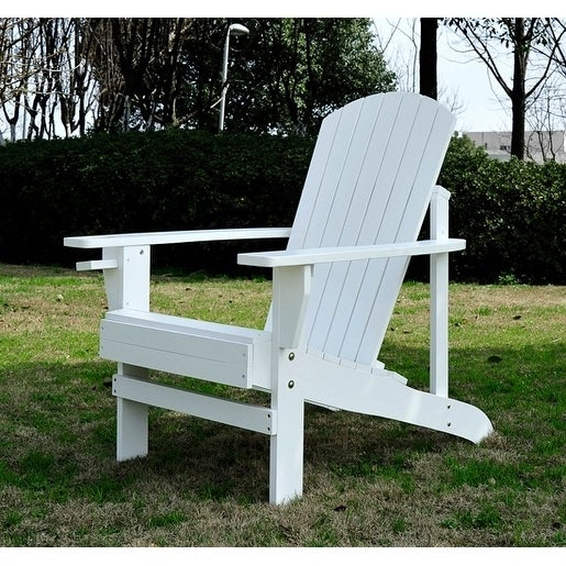 Outsunny Outdoor Patio Adirondack Lounge Chair   White