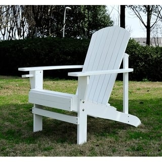 Outsunny Outdoor Classic Wooden Adirondack Deck Chair with Cup Holder & Comfortable Ergonomic Design, White