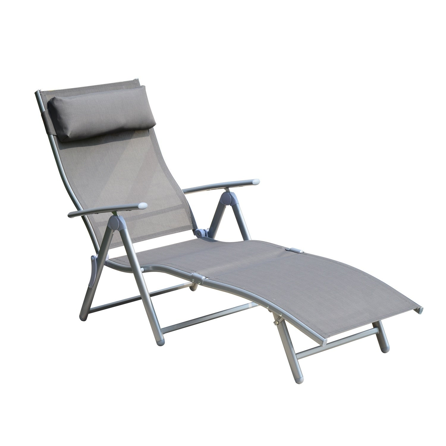 Outsunny Steel Fabric Outdoor Folding Chaise Lounge Chair Recliner With Portable Design Adjustable Backrest Grey Overstock 18126448