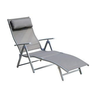 Outsunny Patio Reclining Chaise Lounge Chair with Cushion - Grey