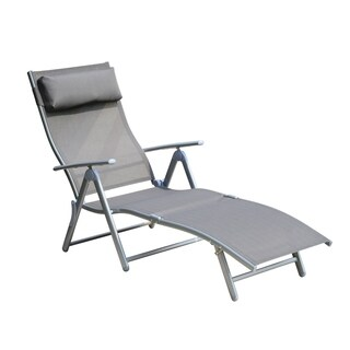 Outsunny Patio Reclining Chaise Lounge Chair with Cushion - Grey  sc 1 st  Overstock : chaise lounge chairs patio - Sectionals, Sofas & Couches
