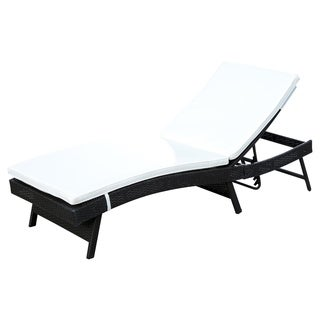 outsunny adjustable pe rattan chaise lounge chair