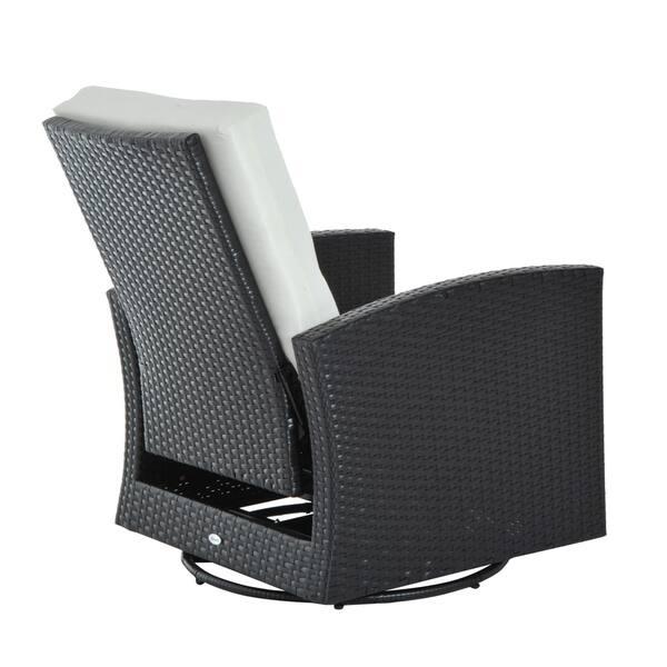 Pleasing Shop Outsunny Rattan Wicker Swivel Outdoor Recliner Lounge Inzonedesignstudio Interior Chair Design Inzonedesignstudiocom
