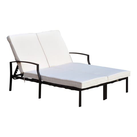 Outsunny 74 Reclining Outdoor Double Lounge Chair Cream Black