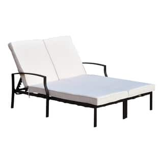 """Outsunny 74"""" Reclining Outdoor Double Lounge Chair - Cream / Black"""