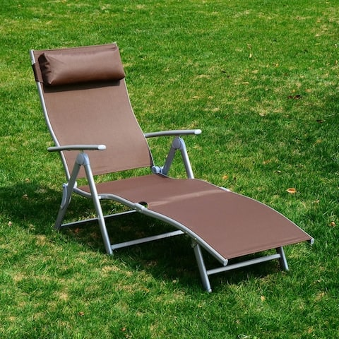 Outsunny Steel Fabric Outdoor Folding Chaise Lounge Chair Recliner with Portable Design & Adjustable Backrest - Brown