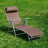 Outsunny Patio Reclining Chaise Lounge Chair with Cushion - Brown and Silver