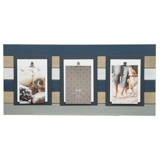 Three clip 4 in. x 6 in. Gray Plank Picture Frame