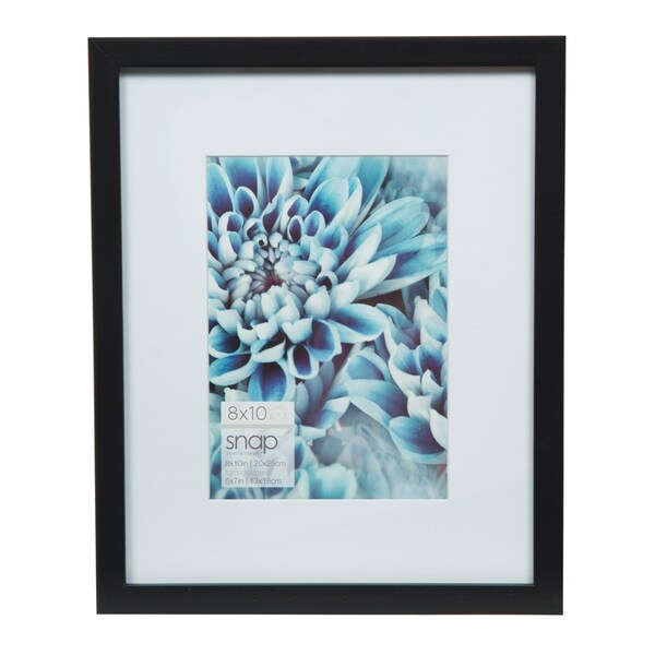 Snap 8x10 Mat to 5x7 Black Wood Picture Frame 30249920