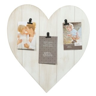 Whitewash Heart 3 Clip Picture Frame