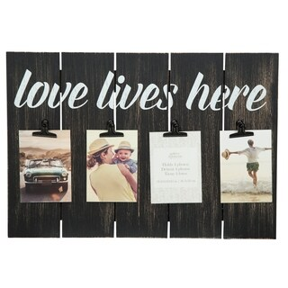 12x18 Love Lives Here Blackwashed 4 Clip Picture Frame