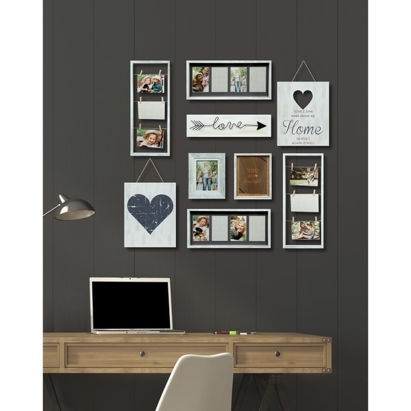 Shop 9 Piece Heart Decor White Collage Kit Picture Frame - Free ...