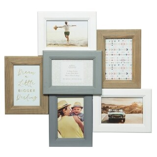 6 Opening Dimensional White and Gray Picture Frame