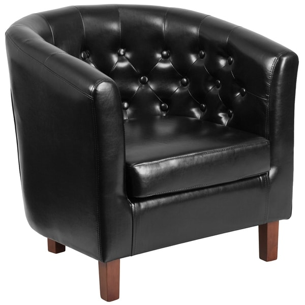 Shop Bostonian Black Leather Button-tufted Single Sofa Guest Chair ...