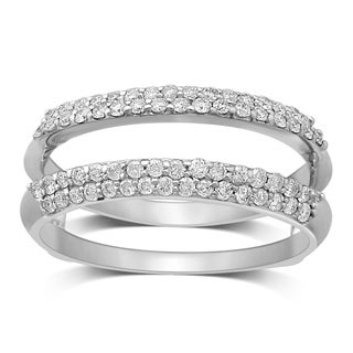 Unending Love 14k White Gold 1/2ct TDW Round and Bageutte Wrap Guard Ring