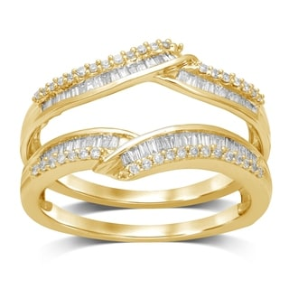 Unending Love 14k Yellow Gold 1/2ct TDW Round and Bageutte Wrap Guard Ring