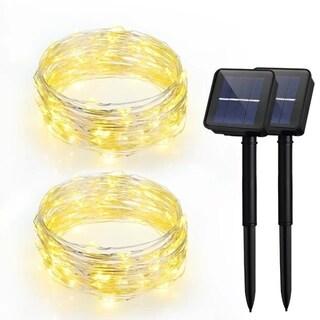 LED Solar Powered String Lights, 100LEDs,8 Modes, 33ft, Warm White (2Pack)