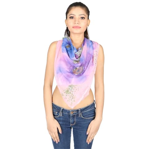 Olivia Leone Shades of Pink, Blue, and Velvet Colors Hand Painted Floral Design Silk Square Scarf for Women