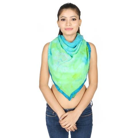 Olivia Leone Teal Blue and Green Hand Painted Floral Design Semi-Transparent 100% Silk Square Scarf with Border for Women