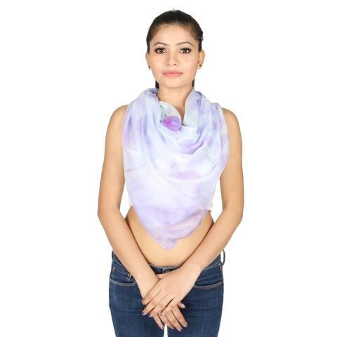 Olivia Leone Velvet Hand Painted Floral Design Semi-Transparent 100% Silk Square Borderless Scarf for Women