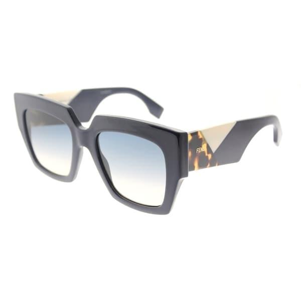 a5abad840cf7 Fendi Square FF 0263 PJP Womens Blue Frame Blue Gradient Lens Sunglasses