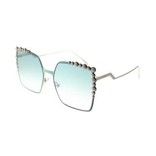 Fendi Square FF 0259 1ED Womens Green Frame Blue Gradient Lens Sunglasses