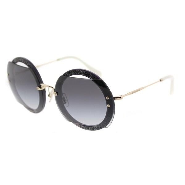 b1f582485ba Miu Miu Round MU 06SS VYU5D1 Womens Dark Violet Frame Grey Gradient Lens  Sunglasses
