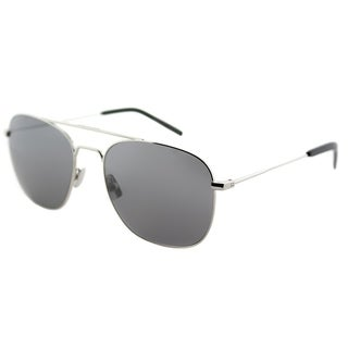 Saint Laurent Aviator SL 86 003 Unisex Silver Frame Silver Mirror Lens Sunglasses